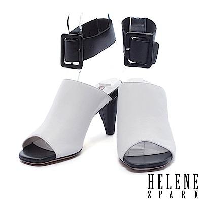 拖鞋 HELENE SPARK 摩登極簡裝飾性踝帶釦設計羊皮穆勒高跟拖鞋-白