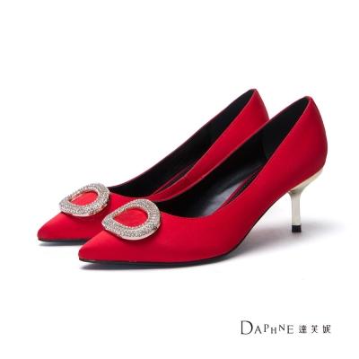 達芙妮DAPHNE 高跟鞋-橢圓鑽飾緞面尖頭鞋-紅