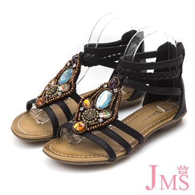 JMS-波希米亞風手作串珠羅馬涼鞋-黑色
