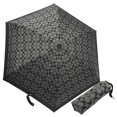 COACH灰底黑C-Logo黑邊輕量攜帶型晴雨傘