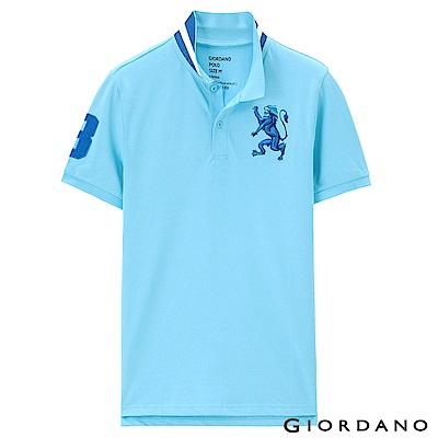 GIORDANO 男裝勝利獅王3D刺繡彈力萊卡POLO衫 -38 明亮淺藍