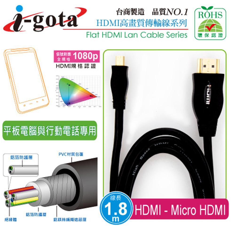 i-gota 1.8M 高畫質 1.4版影音傳輸線 HDMI - Micro HDMI