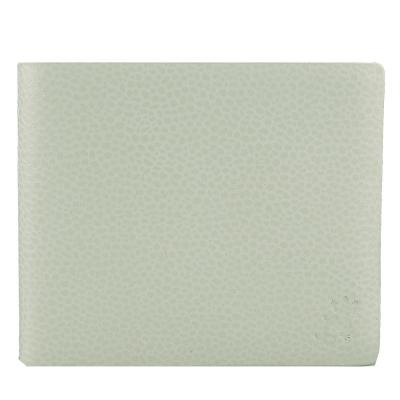 agnes b. 鵝卵石紋蜥蜴壓印logo對開短夾(白)