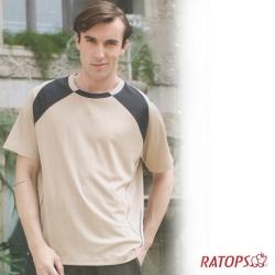 【瑞多仕】男款 COOLMAX 圓領爬線排汗衫_DB8279 黃土/黑色 V1