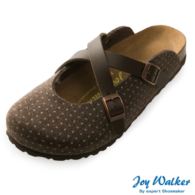 Joy Walker 經典交叉包頭拖鞋*咖啡點點