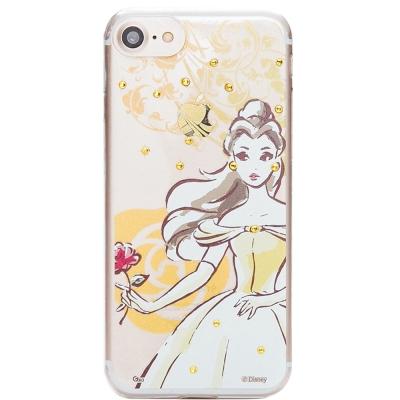 Disney迪士尼iPhone 7施華洛世奇水鑽透明保護硬殼-公主系列