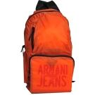 ARMANI JEANS 品牌圖騰LOGO尼龍超輕量後背包(鮮橘)
