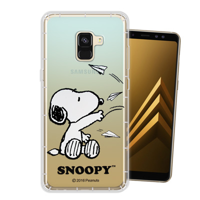 史努比正版授權 Samsung Galaxy A8+ (2018)漸層空壓手機殼...
