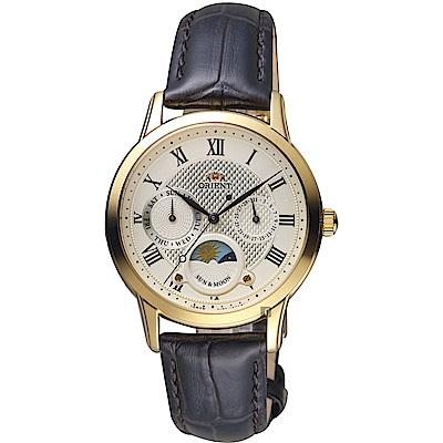 ORIENT東方 羅馬戀曲日曆女錶-金x咖啡色錶帶/34mm