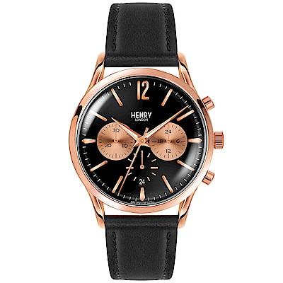Henry London 英倫時尚真皮計時手錶-黑X玫瑰金框/41mm