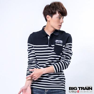 BIG TRAIN 時尚條紋OLO衫-男-藍白條