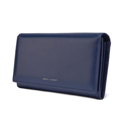 MARCO LAURENT Lunasol 經典羊皮蓋片長夾 - 深藍色