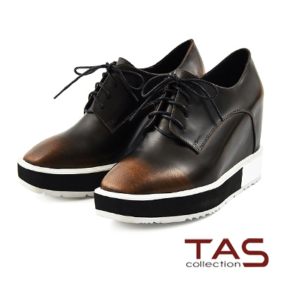 TAS 金屬擦色綁帶內增高方頭牛津鞋-古銅