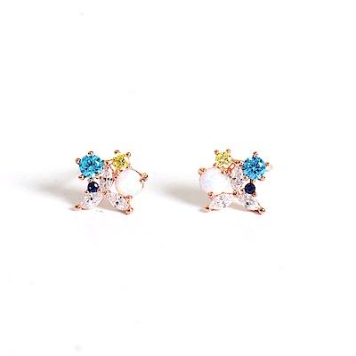微醺禮物 正韓 鍍K金針 圓形仿蛋白石 藍色系鋯 簡約精緻可愛春天 耳針 耳環