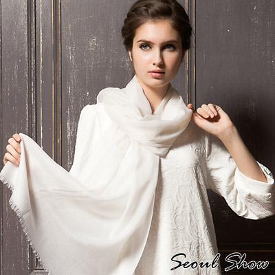 Seoul Show 200支水溶100%純羊毛高級圍巾披肩11色 白色