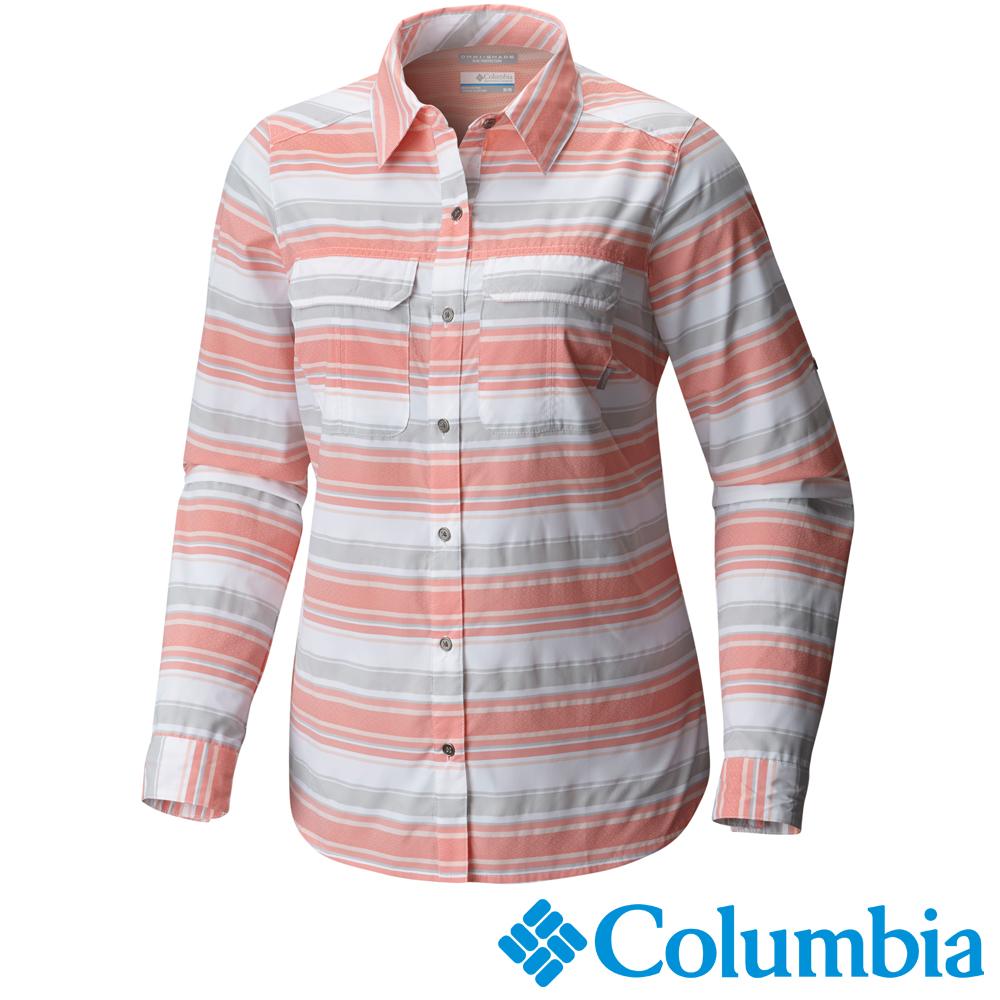 【Columbia哥倫比亞】女-快排防曬50長袖襯衫-銀橘條紋 UAL91380SJ
