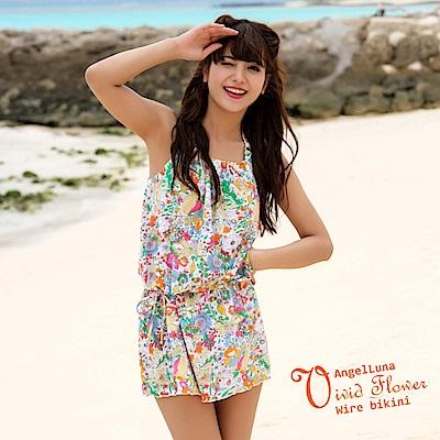 【AngelLuna日本泳裝】活潑印花三件式比基尼泳衣-橘色連身裙