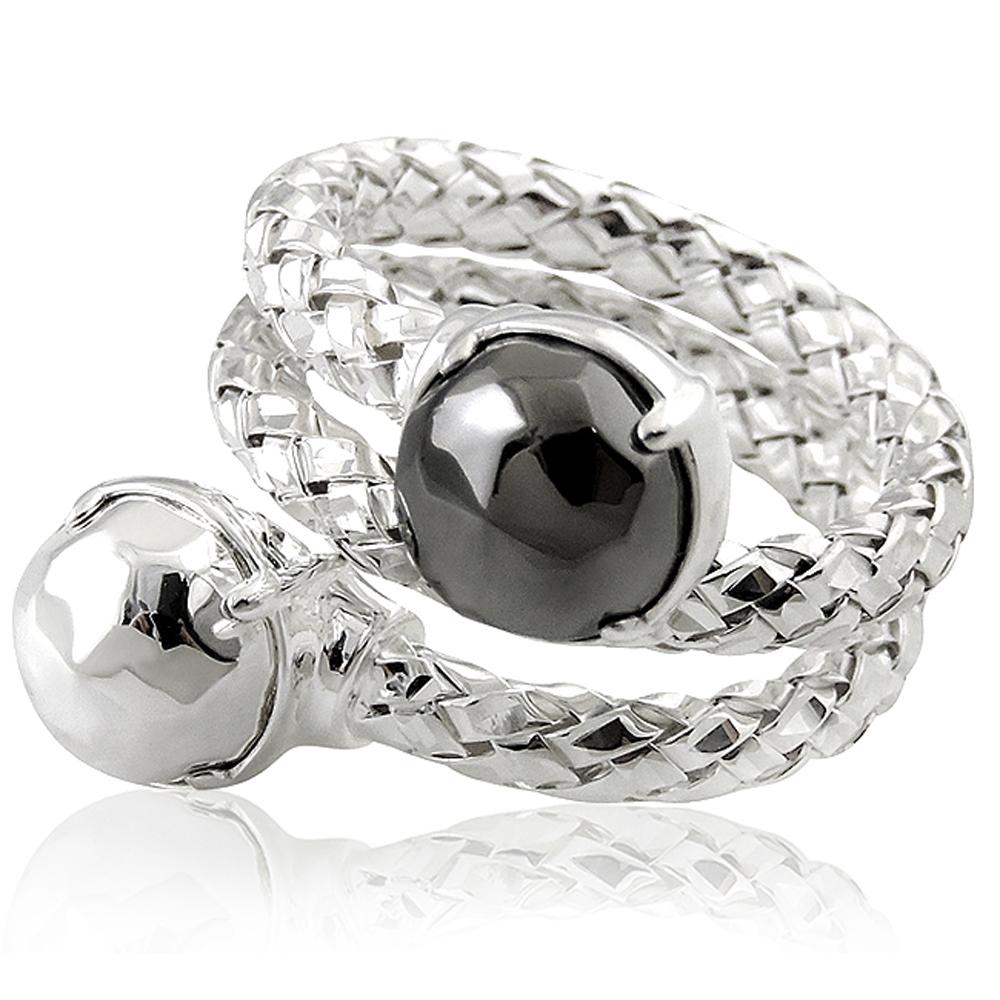 MONT BLANC 萬寶龍 銀色編織雙圈造型純銀戒指-52號