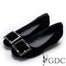 GDC-優雅羊絨水鑽扣飾內增高女鞋-黑色