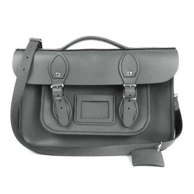 The Leather Satchel 英國手工牛皮劍橋包 肩背手提包 紳士灰 12.5吋