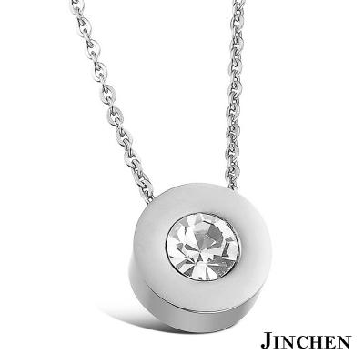 JINCHEN 白鋼單鑽項鍊-銀色