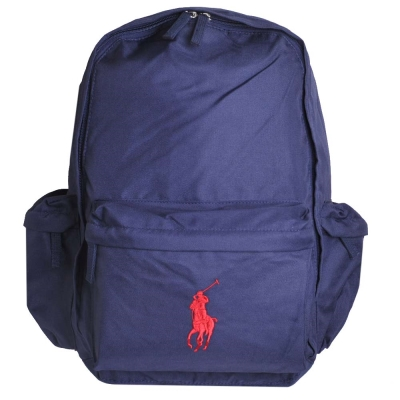 POLO Ralph Lauren 品牌LOGO圖騰刺繡尼龍後背包(深藍/紅馬)