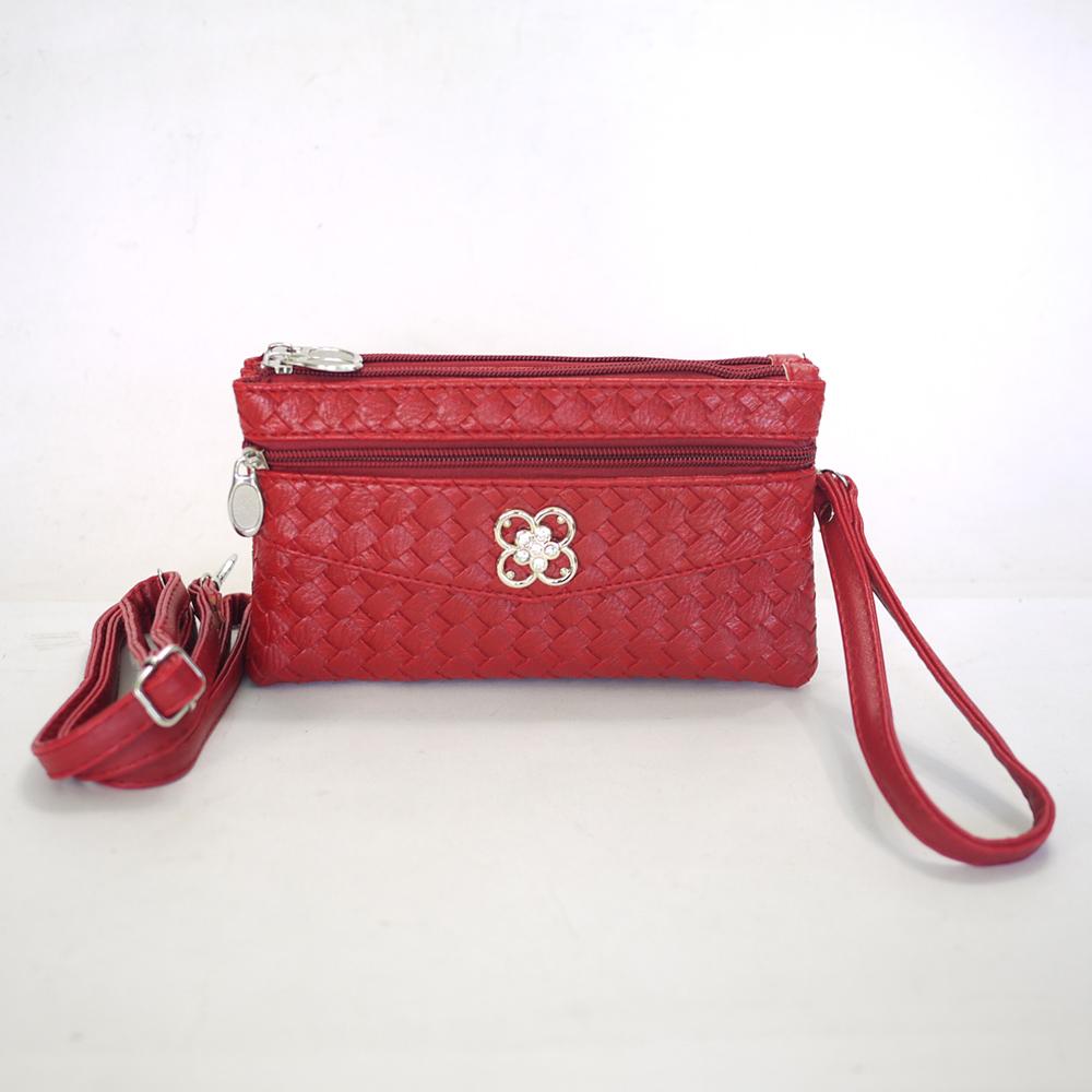 Miyo摩登時尚編織紋多層格功能包(紅)