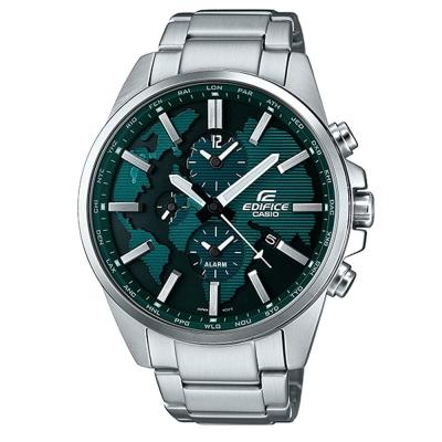 EDIFICE 世界地圖浮刻設計大錶面時尚腕錶(ETD-300D-3A)綠面/46.3mm