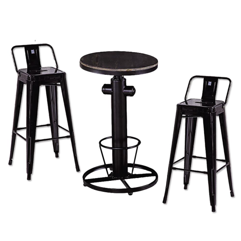 AT HOME-狄倫升降桌+哈利加背吧台桌椅組 55x55x110cm