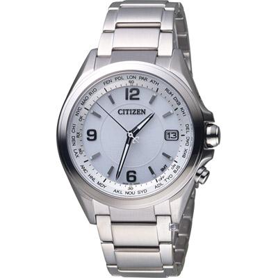 CITIZEN 星辰 鈦光動能電波腕錶(CB1070-56B)-白/42mm