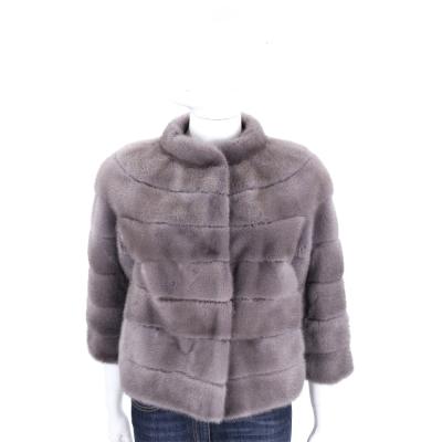 GRANDI furs 灰色立領皮草外套