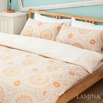 LAMINA-香草菲菲-卡其-雙人加大三件式純棉床包組