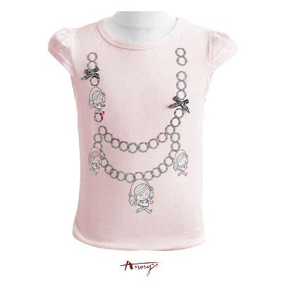 Annys安妮娃娃項鍊塗鴉短袖上衣*1373粉