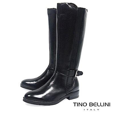 Tino Bellini 歐洲進口金屬釦拼接彈力帶平底長靴_ 黑