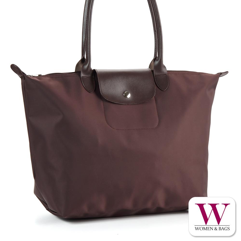 Woman&Bags Simple素面尼龍經典款水餃包[LG-651]深咖(L)