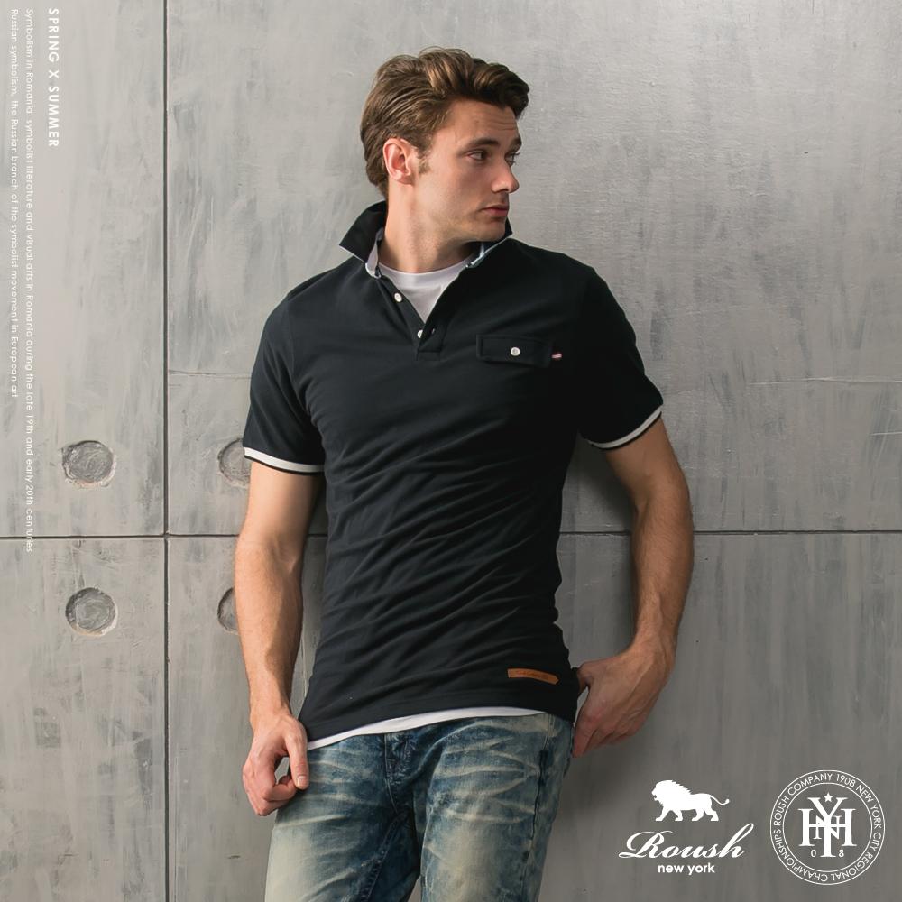 Roush單口袋皮標設計合身網眼Polo衫2色