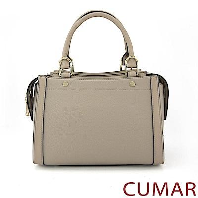 CUMAR 簡約荔枝紋環狀拉鍊手提斜背包-卡其