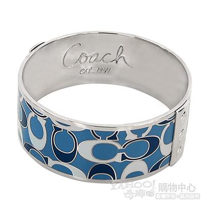 COACH 深淺藍色普普風C Logo寬版手環