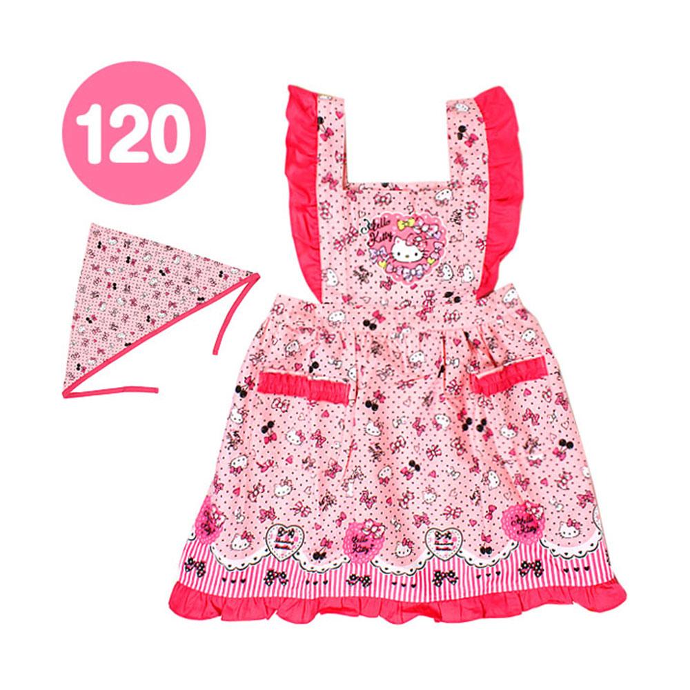 Sanrio HELLO KITTY童用圍裙&三角頭巾組(愛心蝴蝶結-120cm)