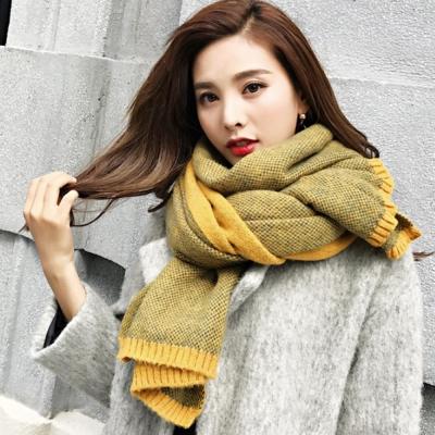 梨花HaNA 韓國超柔軟手感細毛線小鳳梨圍巾黃色