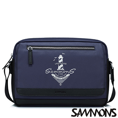 SAMMONS 海軍風休閒尼龍斜背包 深靛藍