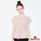 BRAPPERS 女款 典雅寬腰帶連袖上衣-卡其