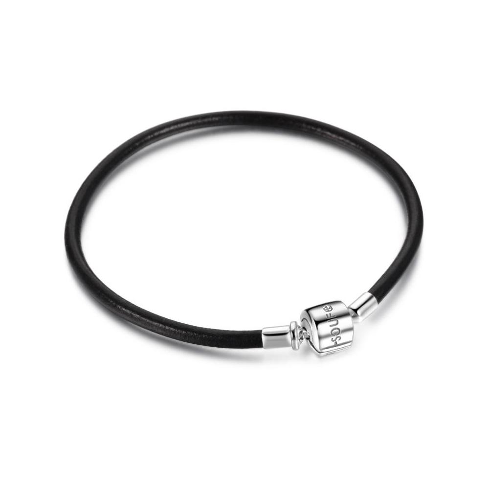 SOUFEEL索菲爾 925純銀珠飾 牛皮手鍊 黑色