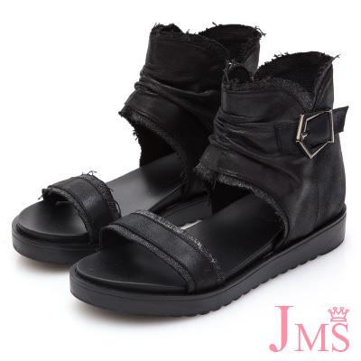 JMS-美式街頭風異材質拼接自然抓皺羅馬涼鞋-黑色
