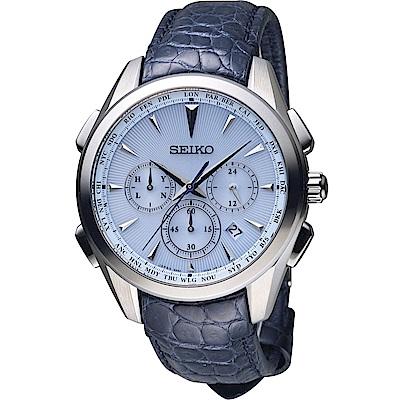 SEIKO Brightz 太陽能電波腕錶(SAGA215J)藍/43mm