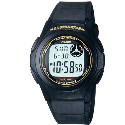 CASIO  超強10年電力數位錶(F-200w-9A)-黑色黃字