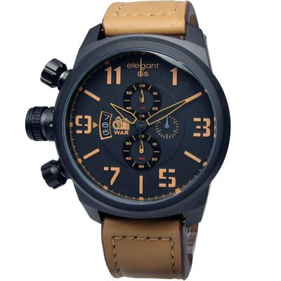 elegantsis 戰地記者‧硬派軍事風皮革腕錶-黑x卡其 /47mm