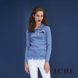 ICHE衣哲 流蘇毛鬚拼接羊毛保暖造型針織上衣-藍
