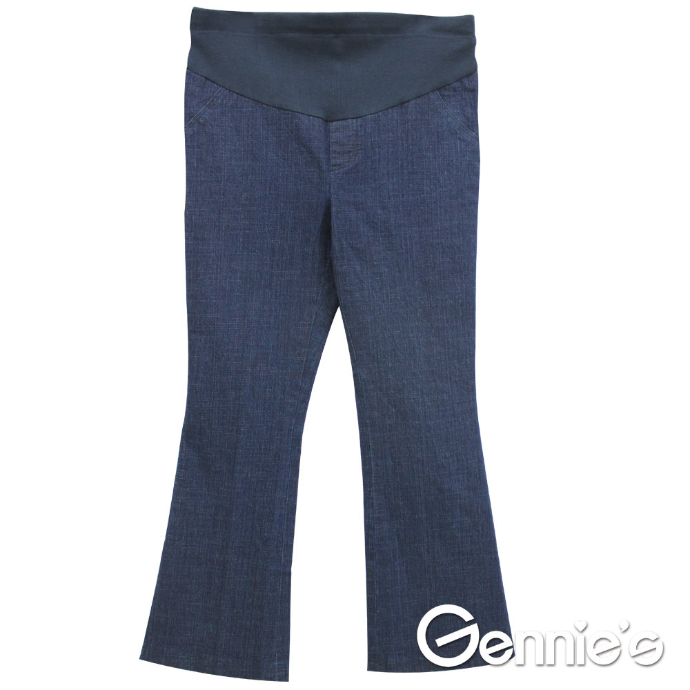 Gennie's奇妮-單寧小喇叭孕婦長褲-藍(C4Y07)