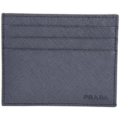 PRADA Saffiano 壓印LOGO防刮牛皮萬用卡片夾(深藍色)